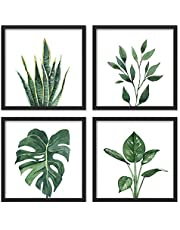 """ArtbyHannah 10"""" x 10"""" 4 Panels Framed Walnut Finish Picture Frame Collage Set for Wall Art Decor with Watercolor Green Leaf Tropical Botanical Plant Prints for Gallery Wall Kit or Home Decoration"""