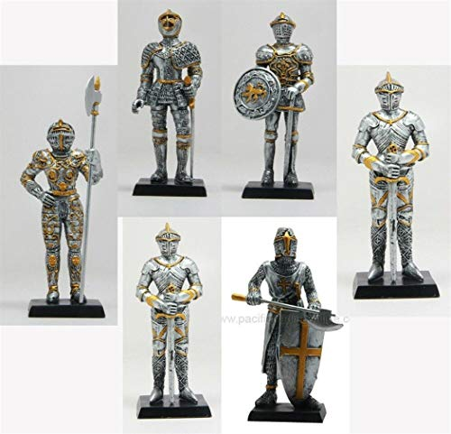 - YK Set of Six Pcs Medieval Knight Decorative Figurine Standing Statue Small 4