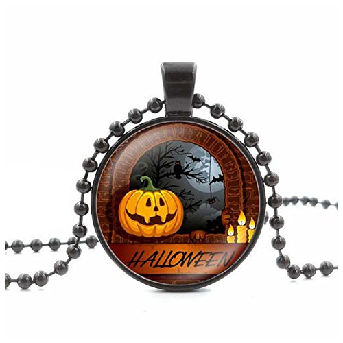 [Christmas GERGER BO Halloween Pumpkin Time Kito Gem Necklace GlassPendant Sweater Chain(4)] (Top Diy Halloween Costumes 2016)