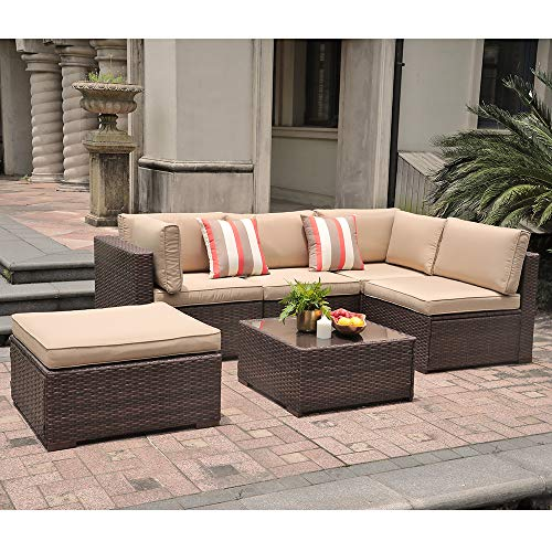 SUNSITT Outdoor Sectional 6 Piece Patio Furniture Set, All Weather Brown Wicker Sofa Set with Ottoman & Washable Cushions (Beige)