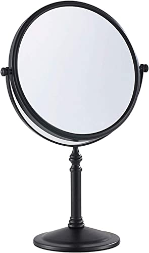 Gecious Standing Makeup Mirror 8 Inches Dual-Sided 1X 10X Swivel Tabletop Vanity Mirror- Matte Black, 304 Stainless Steel, Not lighted