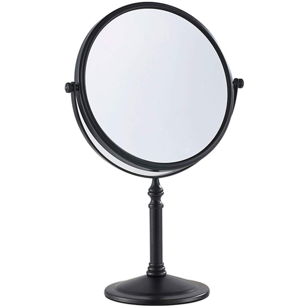 Gecious Standing Makeup Mirror 8 Inches Dual-Sided 1X/10X Swivel Tabletop Vanity Mirror- Matte Black, 304 Stainless Steel, Not lighted