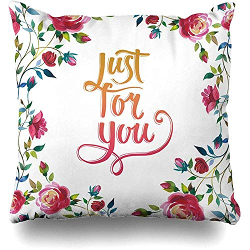 Throw Pillow Covers Home Feather Border Wildflower Rose Flower Watercolor Alphabet Just Nature Bud Corner Drawing Fall Design Decor Pillowcase Square Size 18