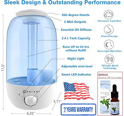 Ultrasonic Cool Mist AROMA Humidifier with NIGHTLIGHT and Essential Oil Set - Best Aromatherapy Humidifiers for Bedroom, Living Room, Office and House | Quiet Operation, Safe for Baby - 2,4L - GENIANI