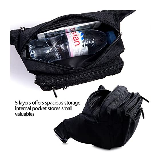 FREETOO Waist Pack Bag Fanny Pack for Men&Women Hip Bum Bag with Adjustable Strap for Outdoors Workout Traveling Casual Running Hiking Cycling (Black) 5 AMPLE ROOM, KEEP ORGANIZED: Well constructed with 5 separate zippered pockets of different sizes for all your needs;The largest pocket can easily hold a standard water bottle (16oz); A small hidden zipper compartment inside the main pocket perfect for your valuables for extra security; A flat zippered exterior pocket located behind the waist band, against your body. Provides spacious storage and help keep you organized while maintaining a slim profile DURABLE MATERIAL&LININGS, WEAR-RESISTANT: Made of strong 1000D Polyester+ Exquisite overall craftsmanship with cleanly finished seams, this waist bag is sturdy and built to last yet soft and pliable. It'll make a great addtion for your daily errands and outdoor activities, perfect for walking, running, biking, hiking, traveling, festivals, fairs, concerts and farmers markets etc. QUALITY SOLID ZIPPERS: ZIPPERS are a very important component of a bag and should never be compromised. This waist pack adopts tough and heavy duty zippers, sturdy,easy to slide and working smoothly. Zipper pulls are good-sized and elegant in design. Worry no more about anything falling out and getting lost.