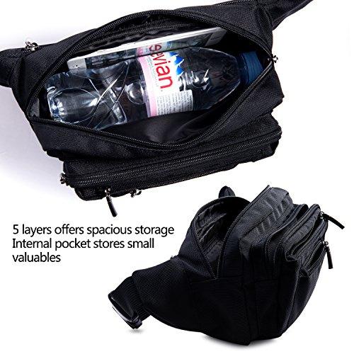 [Gürteltasche] FREETOO Bauchtasche Multifunktionale Hüfttasche 5 Fächer mit Reißverschluss geeignet für Reise Wanderung und alle Outdoor-aktivitäten Schwarz für Damen und Herren