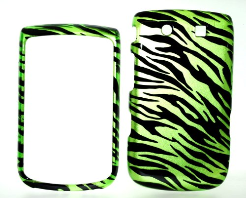 Green Zebra Snap on Hard Skin Shell Protector Cover Case for Blackberry Torch -