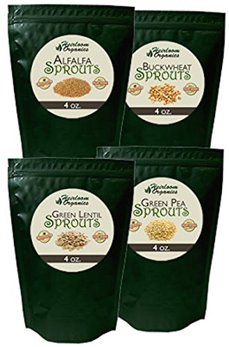 Heirloom Organics NON-GMO Organic Independence Sprout Seed Pack- 4 Varieties Organic Non-Hybrid Sprouting Seeds - Sealed for Long Term Storage