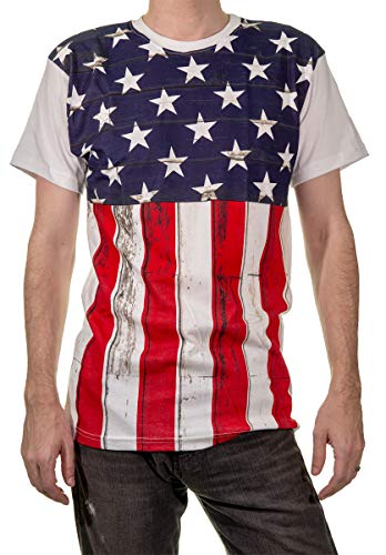 Calhoun Men's USA American Flag T-Shirt (Barn Board, X-Large) (Shirt Flag Star)
