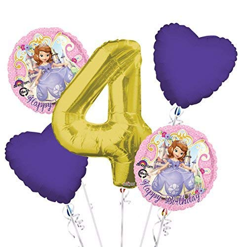 Sofia the First Balloon Bouquet 4th Birthday 5 pcs - Party Supplies -