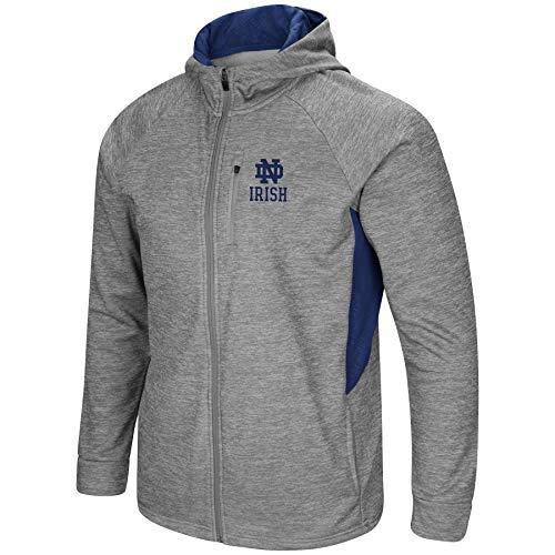 Colosseum Men's NCAA-Night Game-Full Zip-Up Hoodie Jacket-Heathered-Notre Dame Fighting Irish-XL