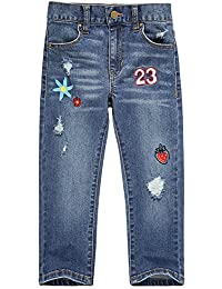 Girls Jeans with Stretch Straight Leg and Pockets