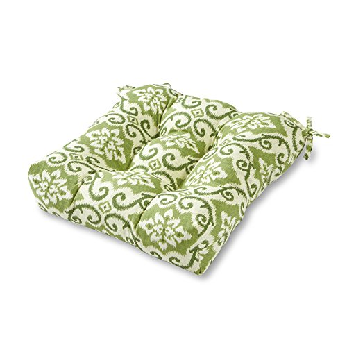 Greendale Home Fashions Indoor Outdoor Chair Cushion, Green Ikat, 20-Inch