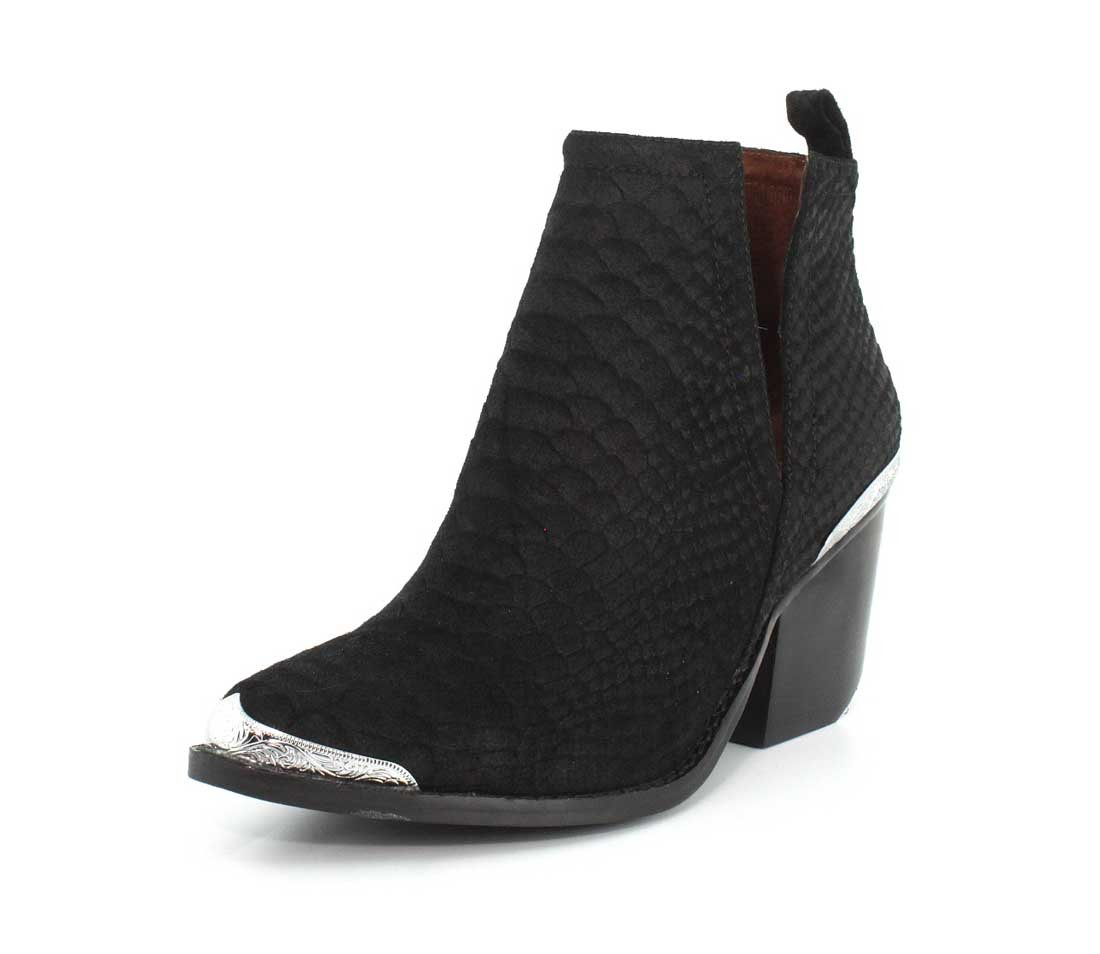 Jeffrey Campbell Women's Cromwell Suede Booties B075H7W9ZL 6 B(M) US|Black Suede Snake