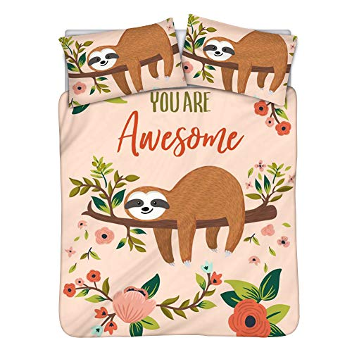HUGS IDEA Bedding Set Duvet Cover Cotton Sets Cute Animal Sloths Pattern Comfortable Touch Breathable Skin-Friendly Fashion Bedding Sheet Sets Home Decor Queen/Full Size