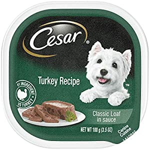 CESAR Soft Wet Dog Food Classic Loaf in Sauce Turkey Recipe, (24) 3.5 oz. Easy Peel Trays