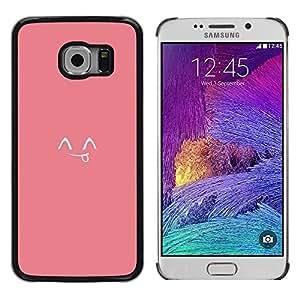 Lengua sonriente japonés lindo Emoticon - Metal de aluminio y de plástico duro Caja del teléfono - Negro - Samsung Galaxy S6 EDGE (NOT S6)