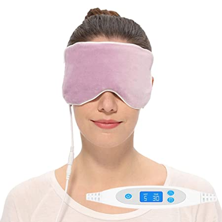 Aroma Season Electric Hot Steam Cotton Silk Blepharitis Eye Mask, Treatment for Migrianes, Dry Eyes, Dark Circle, Puffy Eyes, Styes, Chalazion Purple