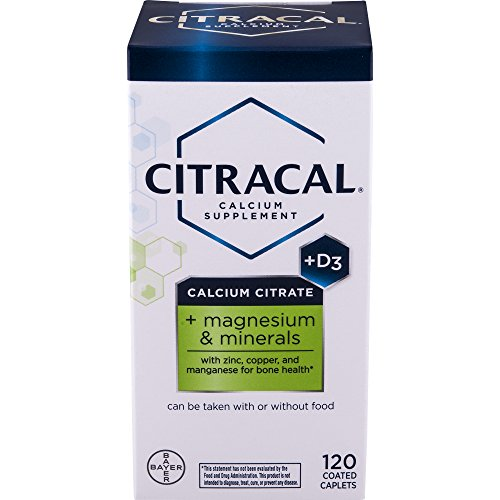 Citracal Plus Magnesium, 500 mg Calcium Citrate with 250 IU Vitamin D3 and 80 mg Magnesium, Multi-Mineral Bone Health Supplement for Adults, Caplets, 120 Count (Side Effects Of Calcium Carbonate With Vitamin D)