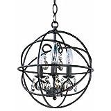 Maxim 25140OI, Orbit Crystal 1 Tier Chandelier Lighting, 3 Light, 60 Watts, Rubbed Bronze