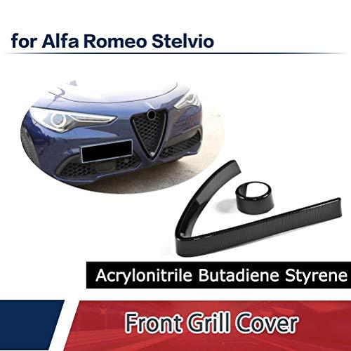 (Jcsportline fits Alfa Romeo Stelvio 2017-2019 Carbon Style ABS V Shape Grill Mesh Frame Cover Trim)