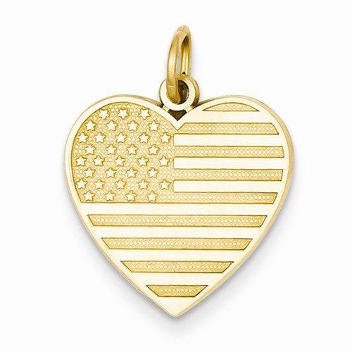 Solid Flag Heart Pendant - Solid 14k Yellow Gold Flag Love Heart Charm Pendant (22mm x 16mm)