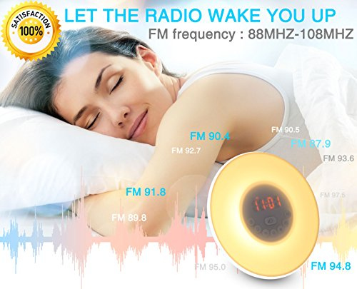 YGold Alarm Clock Wake Up Light Sunrise Sunset Simulation with FM Radio Natural Sounds and Snooze Function 7 Colors 10 Brightness Touch Control and USB Charge for Kids or Bedroom by YGold (Image #4)