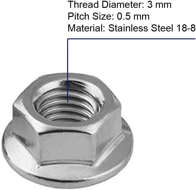 Stainless Steel 304 20 PCS M10 Serrated Flange Nuts Bright Finish