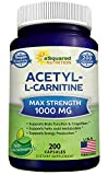 Our product review for Pure Acetyl L-Carnitine 1000mg Max Strength - 200 Capsules - High Potency Acetyl L Carnitine HCL (ALCAR) Supplement Pills to Support Energy, Brain Function & Fatty Acid Metabolism