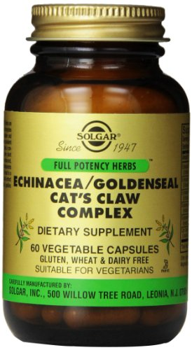 - Solgar - Full Potency Echinacea/Cat's Claw Complex, 60 Vegetable Capsules