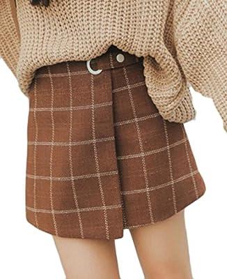 UUYUK-Women Wool A-Line Plaid Checked Mini Skater Skirt With Boyleg Short