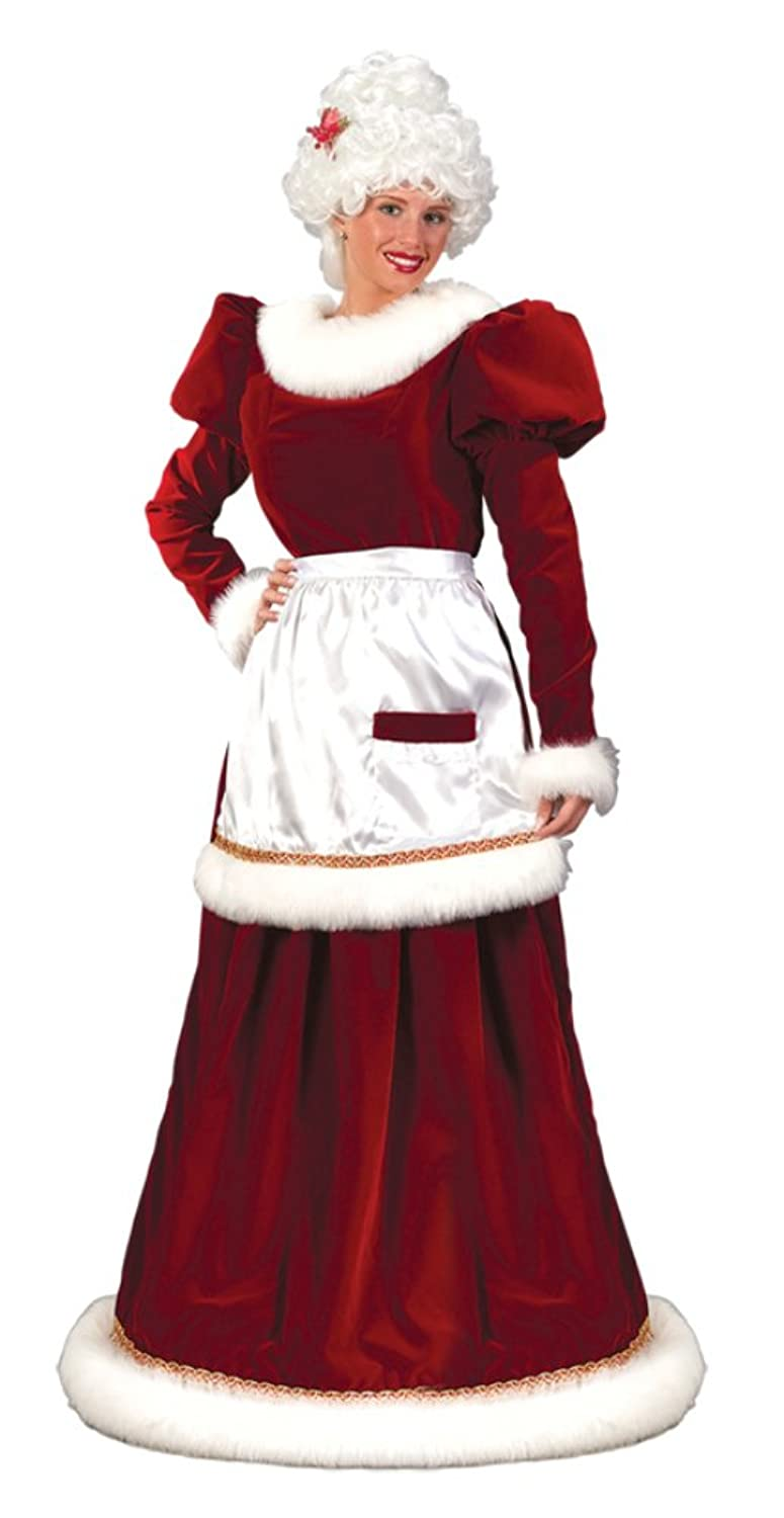 Mrs. Santa Claus Women's Christmas Holiday Long Red Velvet White Fur Gown - DeluxeAdultCostumes.com
