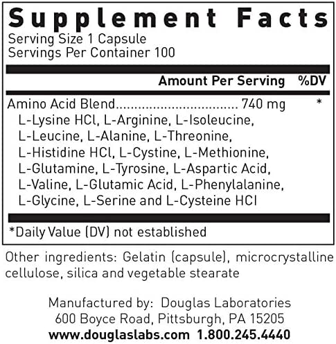 Douglas Laboratories – Aminoblend – Nutritionally Balanced Mixture of Amino Acids – 100 Capsules
