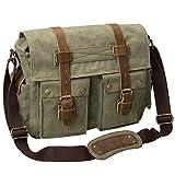 Peacechaos Men's Canvas Leather DSLR SLR Vintage Camera Messenger Bag (Army Green)
