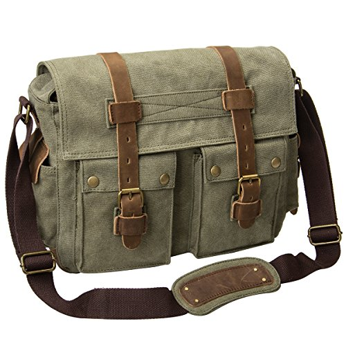 Peacechaos Men's Canvas Leather DSLR SLR Vintage Camera Mess