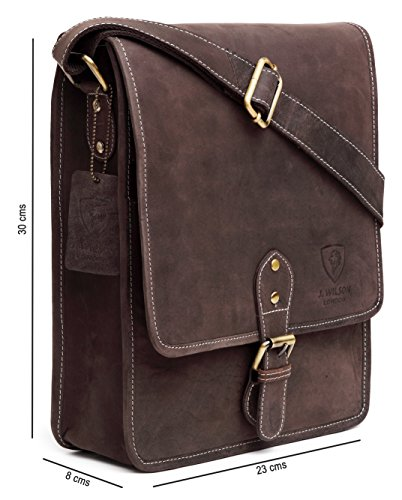Bag Hunter iPad Distressed Genuine Brown Handmade Crossover Real Work Vintage Brown Leather Shoulder 100 Messenger Leather Pure Mens Flapover Everyday Distressed H6Iqaa