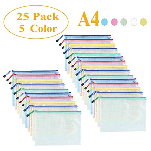 Mesh Zipper Pouch Waterproof Double Plastic Document Organizer Bag Zip File Folders A4 Size for Office School Supplies,Business Receipts, Magazine, Toys, Cosmetics,Travel Accessories 5 Colors,25 Pcs