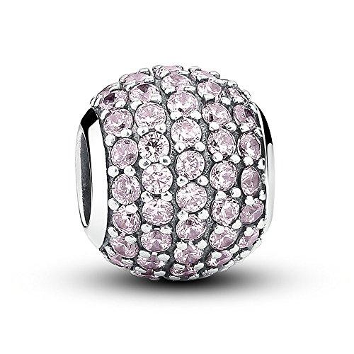 Everbling Pavé Lights with CZ 925 Sterling Silver Bead Fits Pandora Charm Bracelet (Pavé Lights with Light Pink)