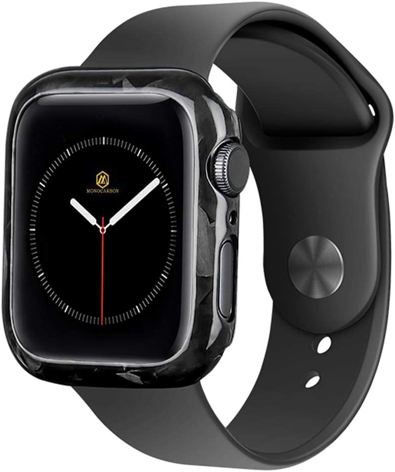 MONOCARBON Forged Carbon Fiber Slim Case Compatible with Apple Watch Series 6/SE/5/4 44mm Protective Frame iWatch Case - Glossy Finishing