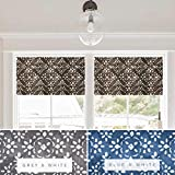 Cheap Faux Roman Shade Valance Custom Made in Charcoal Grey or Blue and White Stencil Print, Fully Lined, Fabric by the Yard