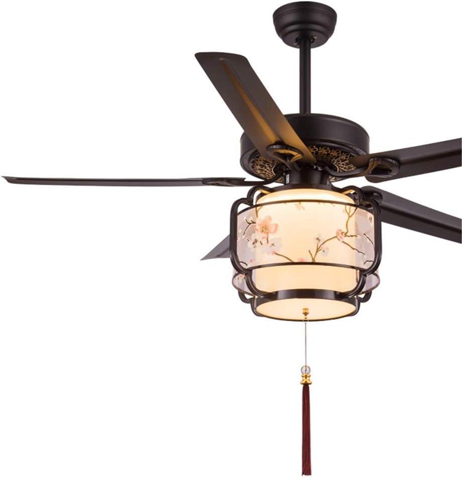 ZCX Nuevo ventilador de techo chino, sala de estar, hogar, hoja de madera, ventilador retro, araña de restaurante, ventilador antiguo, ventilador de techo, luz, estilo chino Luz del ventilador de tech: Amazon.es: