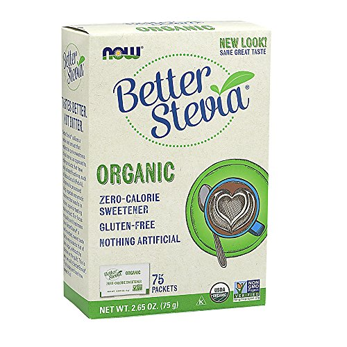 NOW Foods Organic BetterStevia, Sugar Alternative  Sweetener, Zero Calorie, Gluten-Free 75 (Calorie Sweetener Packets)