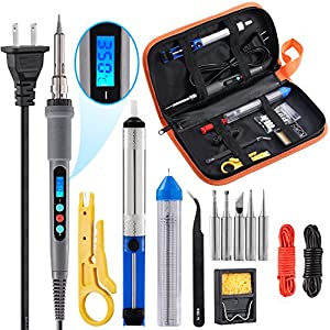 Soldering Iron Kit, Including 60W Temperature Control Soldering Iron with ON/OFF Switch, Tips, Solder Sucker, Desoldering Wick, Solder Wire, Anti-static Tweezers and Stand by SEALODY