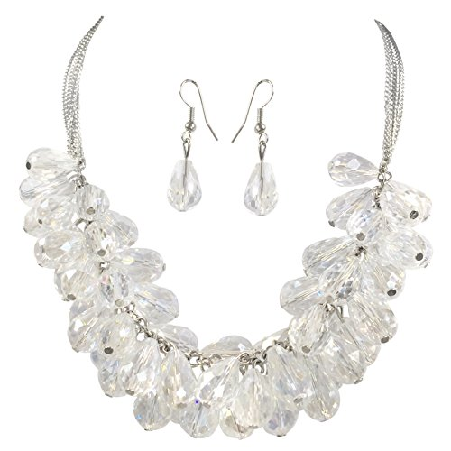 Glass Teardrop Cluster Beads Chunky Statement Necklace & Dangle Earrings Set (Clear Silver Tone)