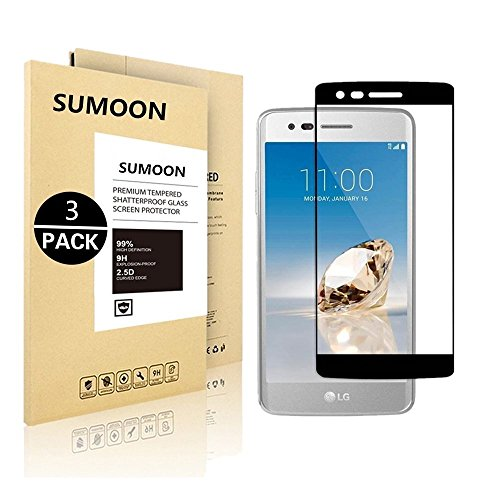 LG Aristo (MS210) / LG LV3 / LG K8 2017, SUMOON [Full Cover] [Tempered Glass] [Anti-Scratch] [Bubble Free] Ultra Thin HD Clear 9H Hardness Shockproof Clear Screen Protector (3 - 7 Hd Bling 2014 Fire Kindle Case
