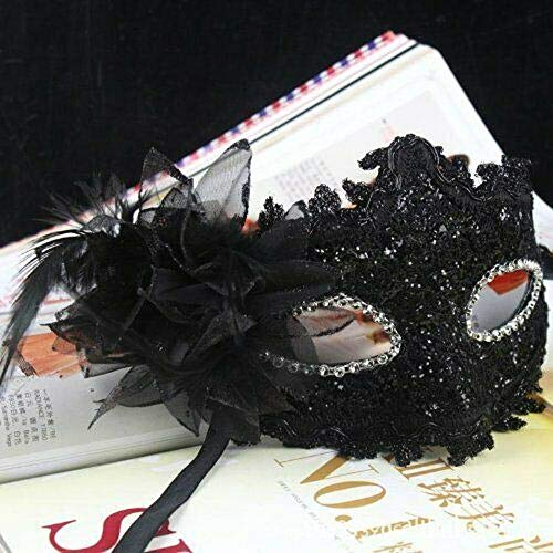 Sequin/Black Masquerade Mask for Women New Halloween Cosplay Sexy Lace Party Girls Costume Tkmiss from Unknown
