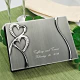 HBH & RaeBella Weddings Personalized Wedding Bling Love Double Heart Sparkling Silver Guest Book