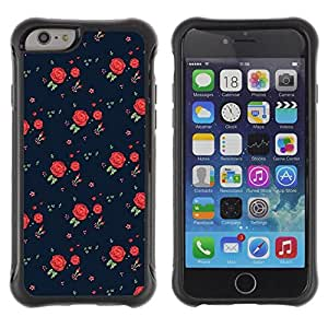 Suave TPU Caso Carcasa de Caucho Funda para Apple Iphone 6 / roses vintage retro dress pattern fashion / STRONG