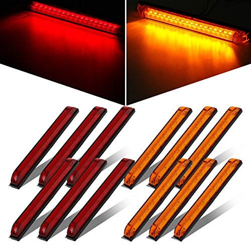 Partsam 10x Red/Amber Slim Line Utility Strip 18 LED Sealed Light 8