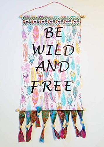 Be Wild And Free! Handcrafted 12x19-inch Feather Tapestry Wall Hanging with Batik Fringe and Beads!